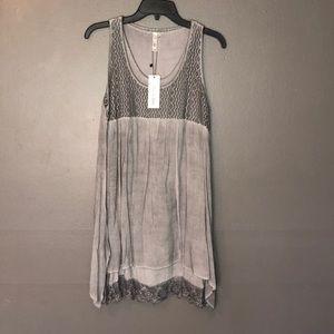 NWT Lori &Mari gray Crochet mini dress size s